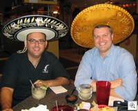 Miguel Guhlin, Scott McLeod wearing sombreros at restaurant