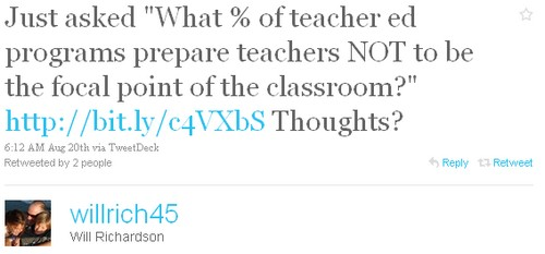 What % of teacher ed programs prepare teachers NOT to be the focal point of the classroom?