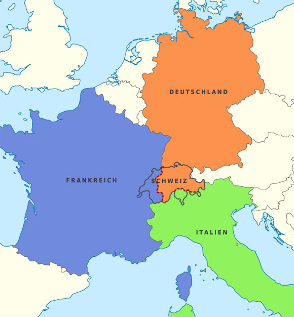 How Gadaffi's proposal for the dismemberment of Switzerland might work out. Map taken here from Wikipedia.