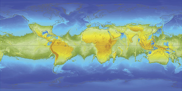 Map of the earth with a single supercontinent straddling the equator.