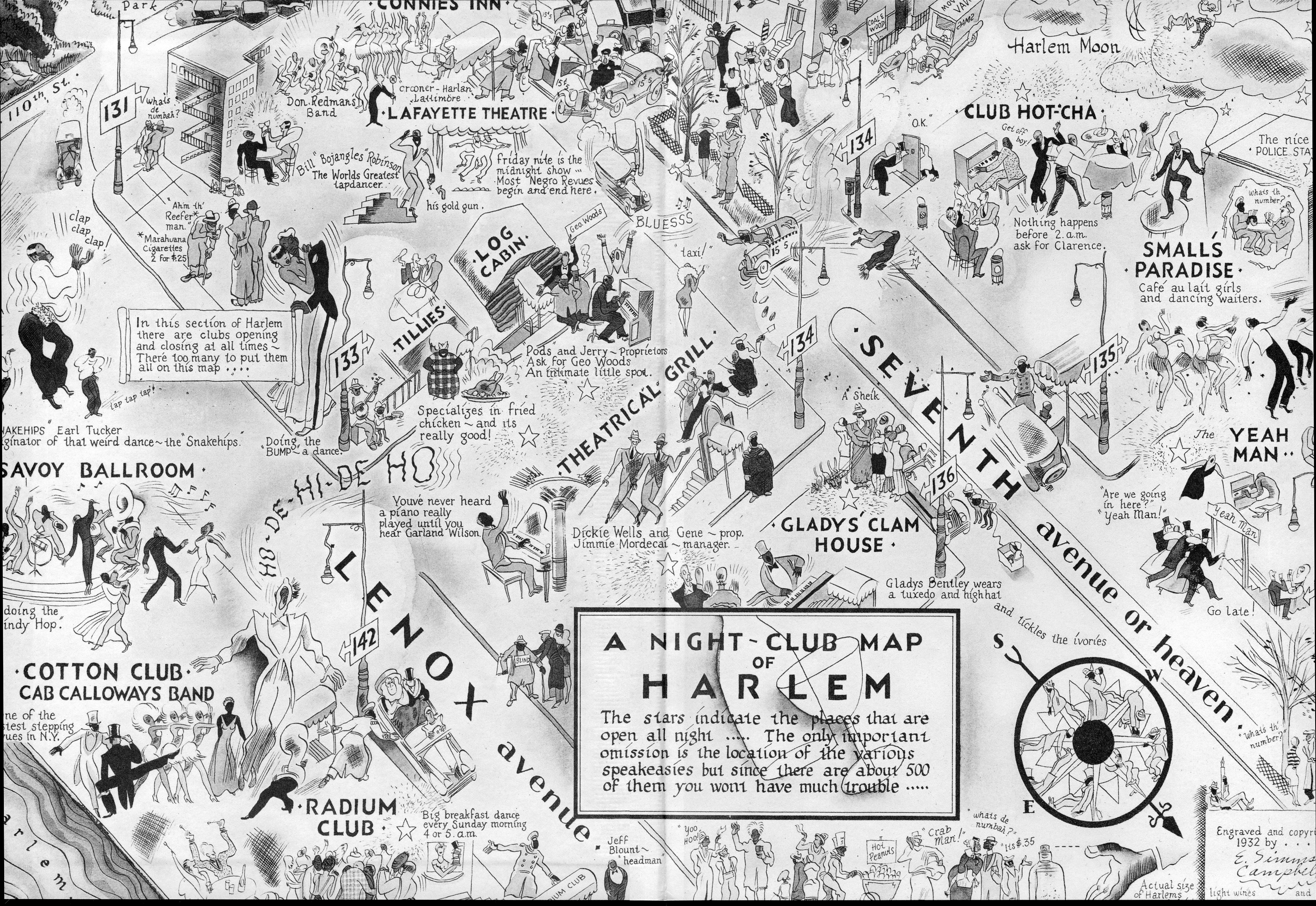 Map Of New York Harlem.A 1932 Illustrated Map Of Harlem S Night Clubs From The Cotton Club
